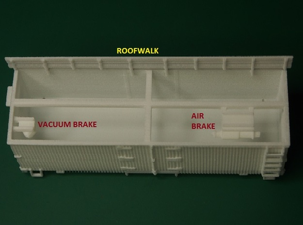 HOn30 25ft Reefer 3d printed Brake parts are inside the body. Carefully remove these and the roofwalk.