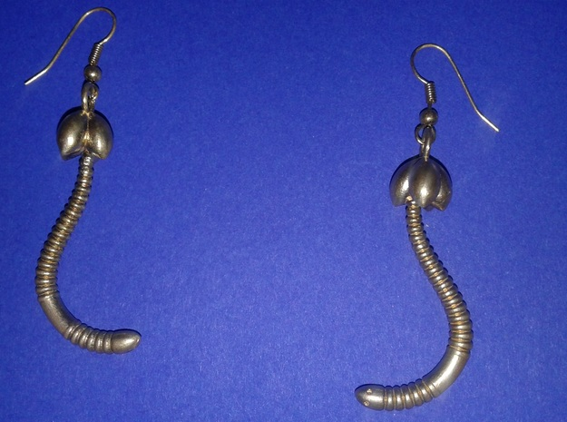 """""""Life of a worm"""" Part 4 - """"Baby worm"""" earrings in Raw Brass"""