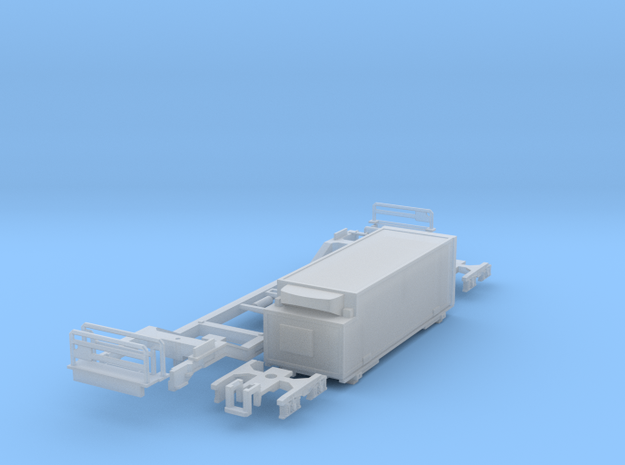 Low-floor container car w/Fridge in Frosted Ultra Detail