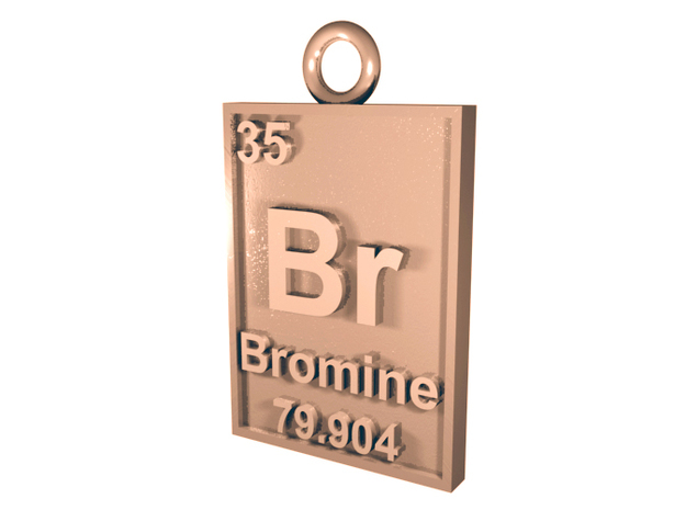Bromine Periodic Table Pendant 3d printed CGI Render of the Bromine Pendant in Silver