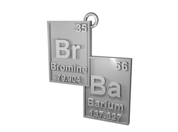"""""""Br/Ba"""" Bromine and Barium Periodic Table Pendant in Natural Silver"""