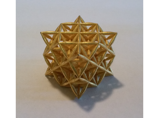 "Flower Of Life 64 Tetrahedron Grid 1.2"" in Polished Gold Steel"