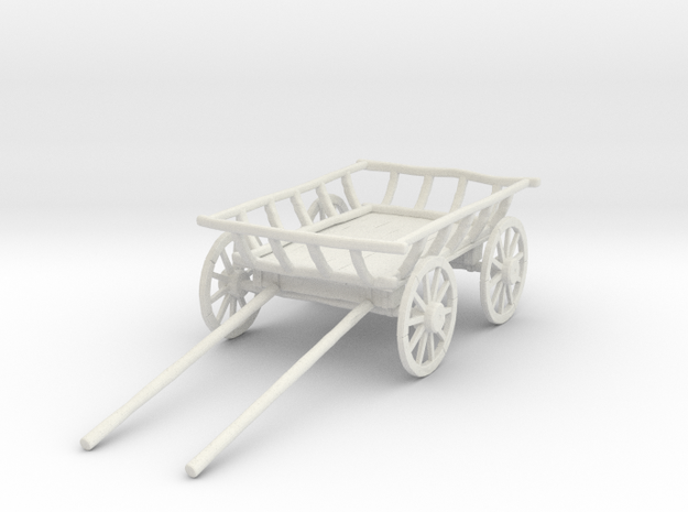 "Old Cart 40"" Wheels in White Natural Versatile Plastic: 1:24"