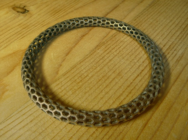Hex Ring Bangle in Polished Bronze Steel