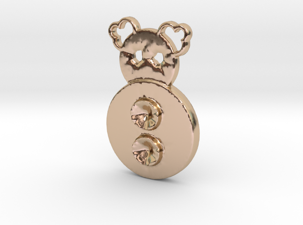 two button clown in 14k Rose Gold Plated Brass
