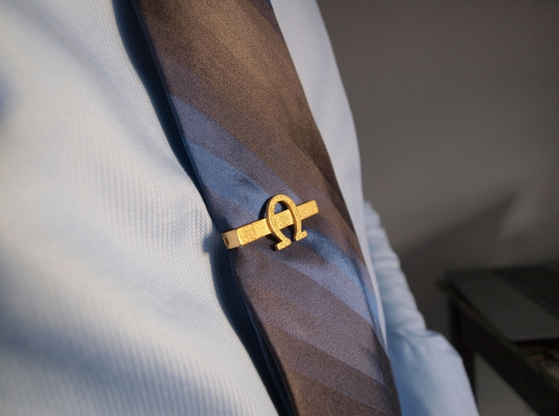 OHM (Omega) Tie clip in Polished Gold Steel