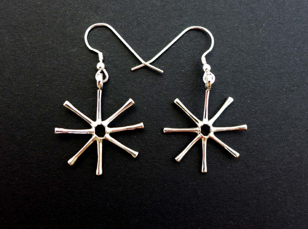 Asterionella Diatom Earrings in Polished Silver