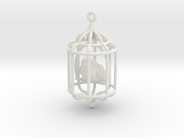 Bird in a Cage Pendant 02 3d printed