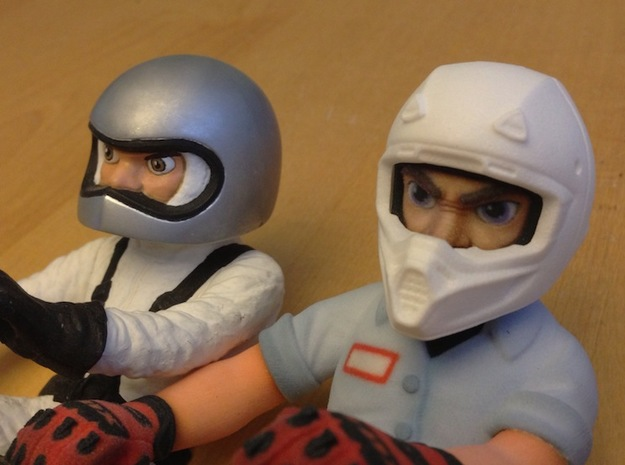 WW10012 Wild Willy Moto Colour Printed Face 3d printed Comparison with original Tamiya Wild Willy driver (not for sale)