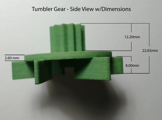 Tumbler Gear replacement 3d printed Actual product dimensions-Side view