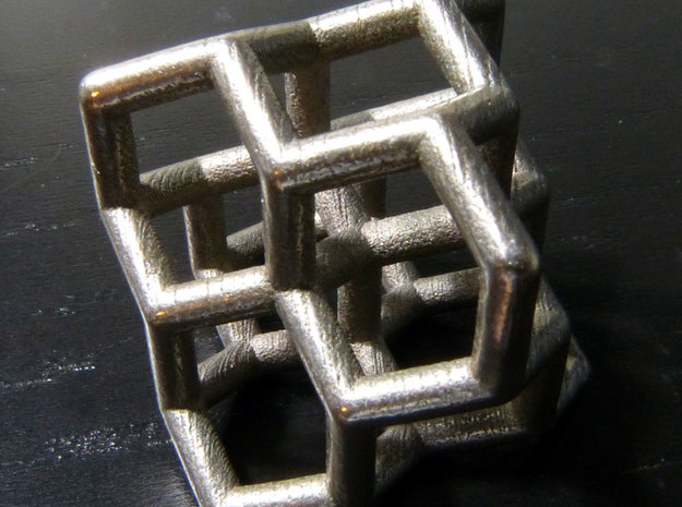Diamond structure (small) in Polished Bronzed Silver Steel