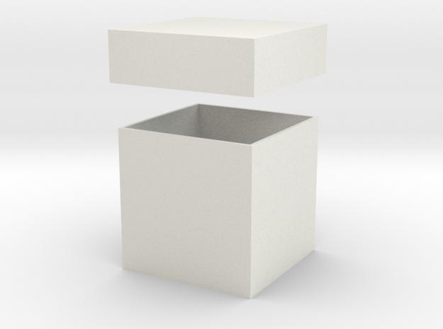 Gift Box & Lid - 50mm in White Natural Versatile Plastic