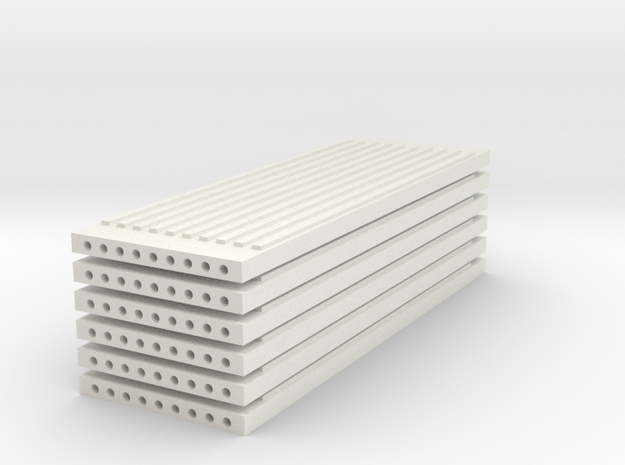 'N Scale' - (6) Precast Panel - Ribbed - 30'x10'x1 in White Natural Versatile Plastic