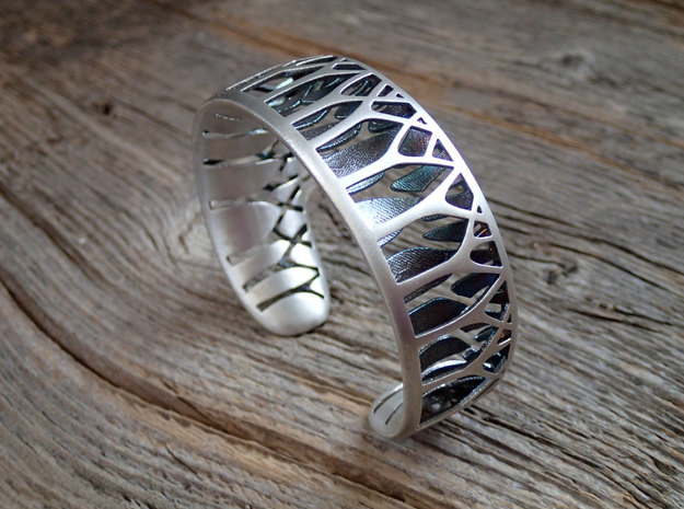 Forest for the Trees Cuff in Polished Silver: Small