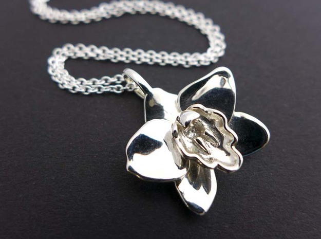 Cymbidium Boat Orchid Pendant in Polished Silver