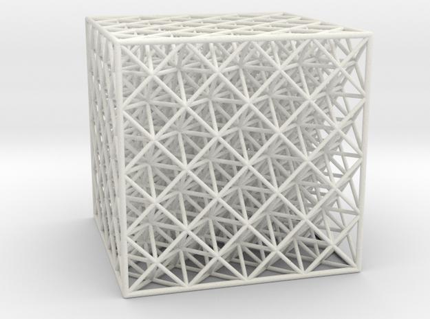 Octet Truss Cube (4x4x4) in White Natural Versatile Plastic