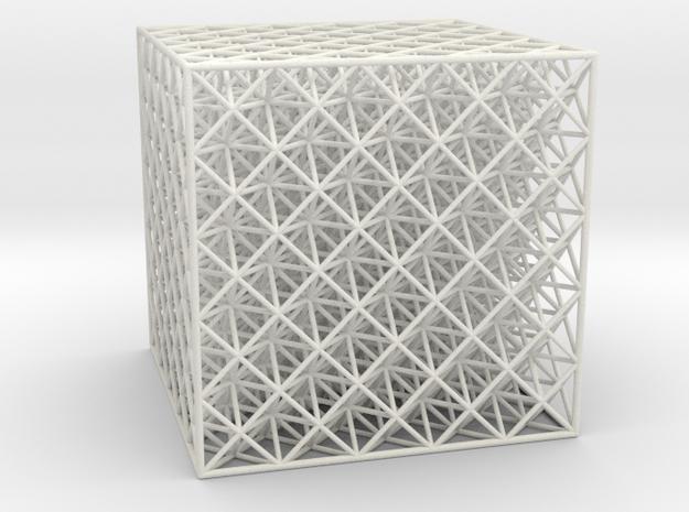 Octet Truss Cube (5x5x5) in White Natural Versatile Plastic