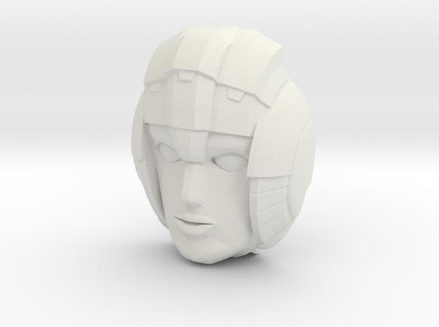 Arcee, G1 Face (Titans Return) in White Natural Versatile Plastic