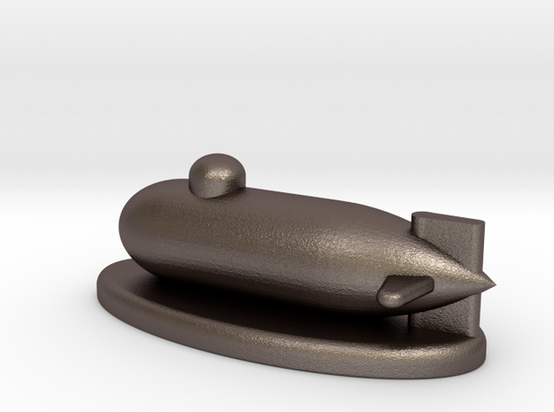 Mini Monolpoly Submarine With Stand in Polished Bronzed Silver Steel
