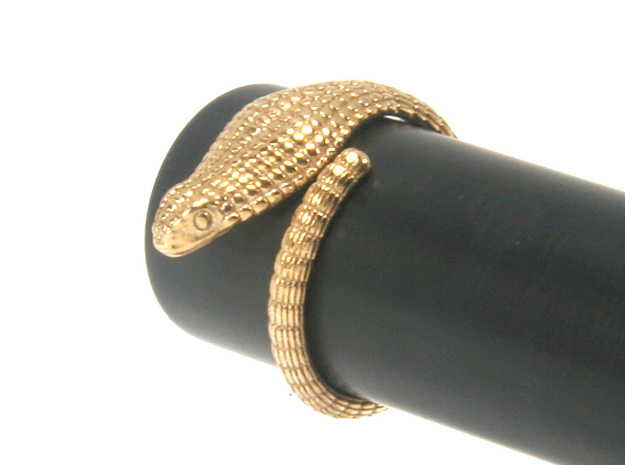 Cobra Ring US4 / Fountain Pen Roll-stopper 15 mm in Polished Bronze