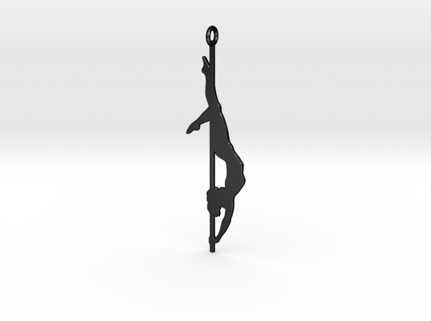 Pole dancer Keychain in Matte Black Steel