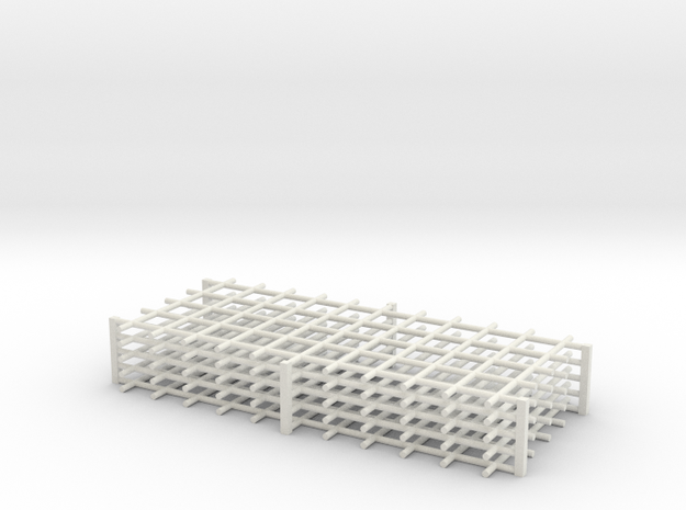 Rebar Grid 4 Feet x 10 Feet 1-87 HO Scale  in White Natural Versatile Plastic: 1:87