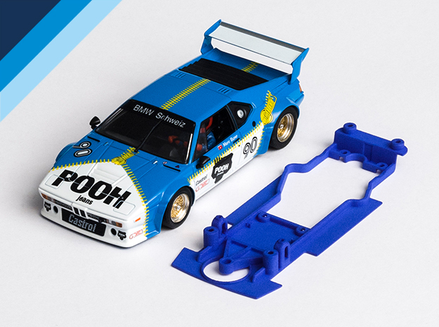 1/32 Chassis for Fly BMW M1 for Slot.it pod in Blue Strong & Flexible Polished