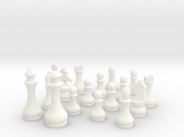 Pomo Standard Chess Set in White Processed Versatile Plastic