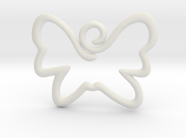 Swirly Butterfly Pendant Charm in White Natural Versatile Plastic