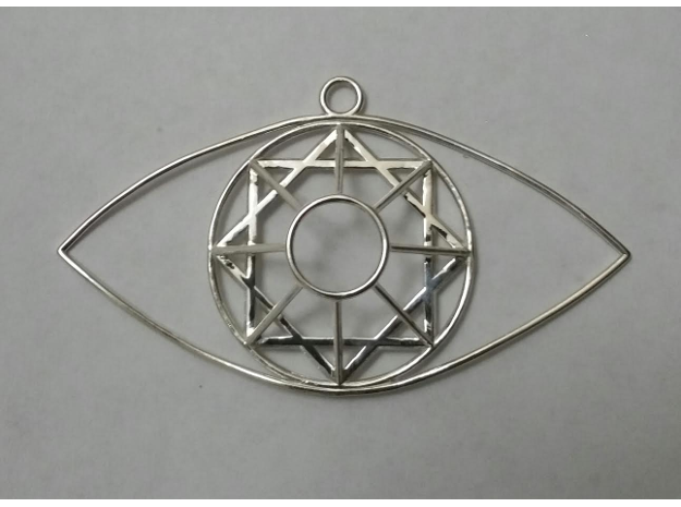 Eye Of Mel-Giza-Dek  in Polished Silver