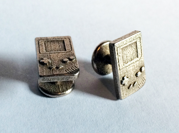 Game Boy Cufflinks in Polished Bronzed Silver Steel