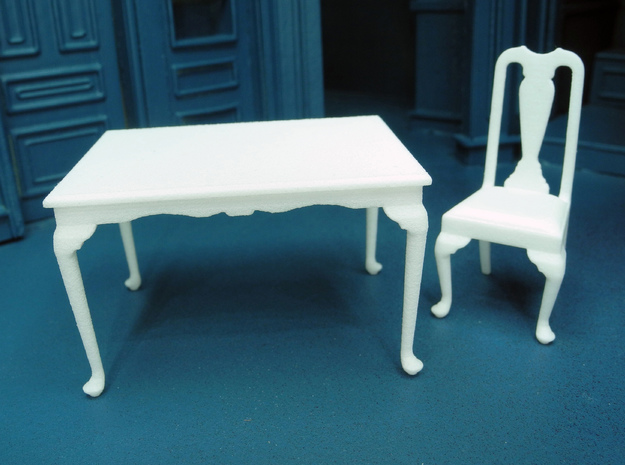 1:24 Queen Anne Dining Table, Medium 3d printed Shown with our Queen Anne Chair, sold separately