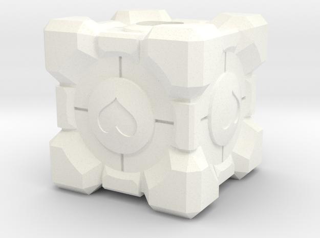 Companion Cube Lanyard Bead in White Processed Versatile Plastic