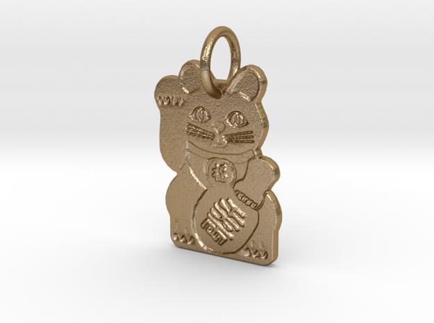 Maneki Neko RIGHT Paw Beckoning Lucky Cat in Polished Gold Steel