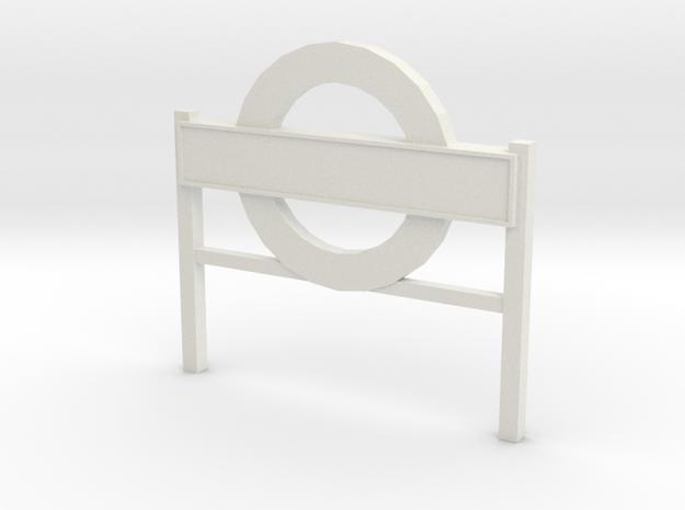 4mm Scale London Underground Platform Sign in White Natural Versatile Plastic