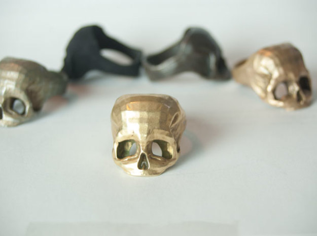 Skull Ring US 10 by Bits to Atoms in Polished Brass