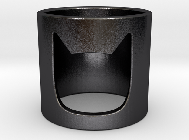 Batman Ring in Polished Grey Steel