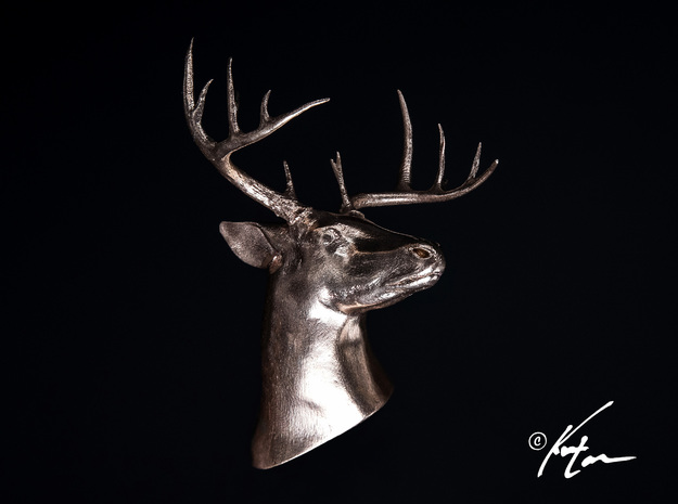 White Tail Deer Mount in Raw Bronze