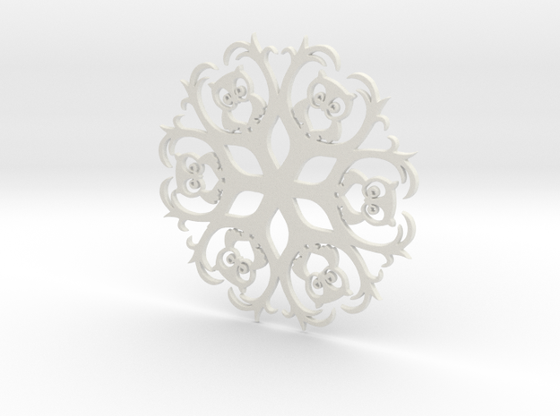 Owls & Branches Snowflake Ornament in White Natural Versatile Plastic