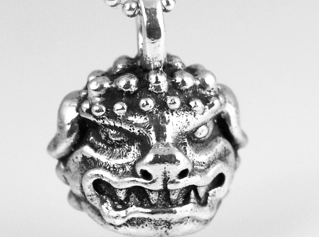 Foo Dog charm by Bixie Studios in 14k White Gold