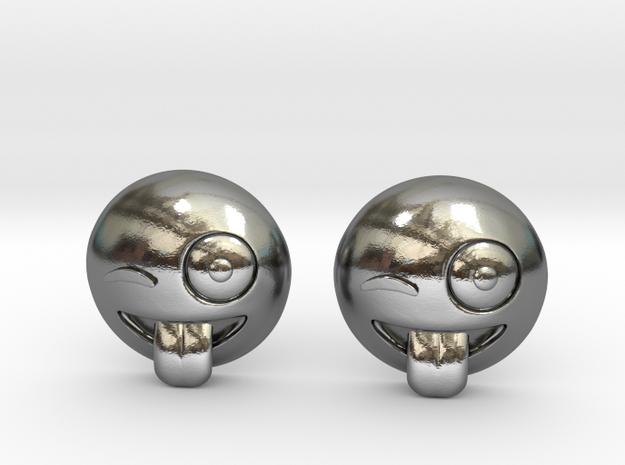 Winking Emoji in Polished Silver