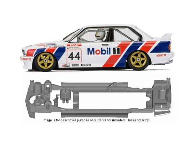 S14-ST4 Chassis for Scalextric BMW E30 SSD/STD in Black Natural Versatile Plastic