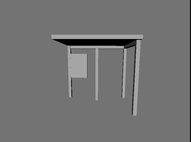 N Gauge Bus Shelter type 2 (4 pack) in Smooth Fine Detail Plastic