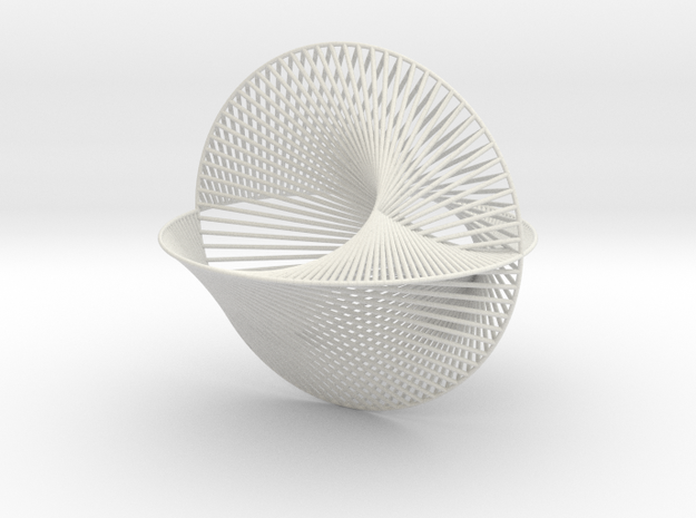 3D String Drawing 2 in White Natural Versatile Plastic