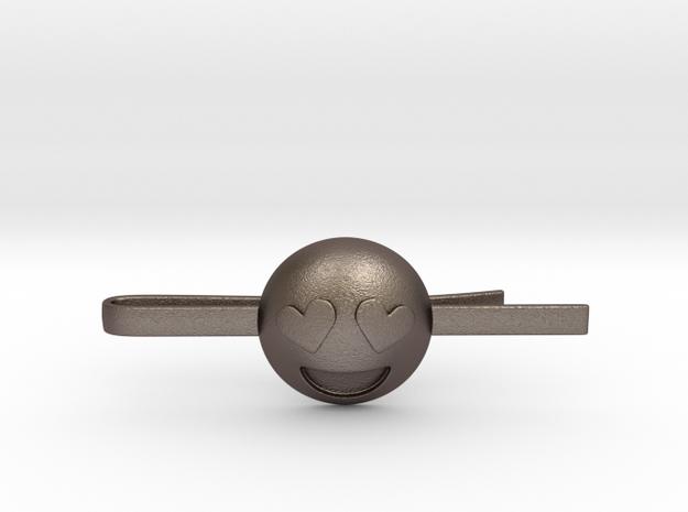 Heart Eyes Tie Clip in Polished Bronzed Silver Steel