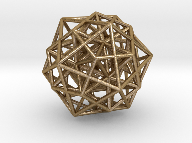 Icosa/Dodeca Combo w/nested Stellated Icosahedron  in Polished Gold Steel