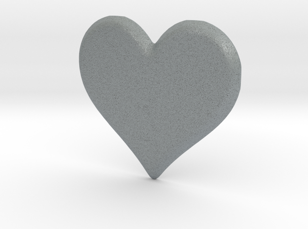 Soft Heart Pendant in Polished Metallic Plastic: Extra Small