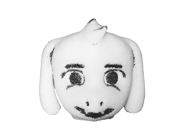 Custom Asriel Inspired Head for Lego in White Natural Versatile Plastic