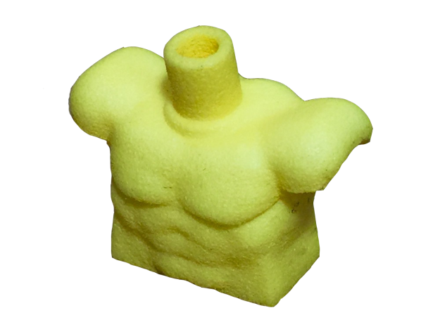 Custom Muscle Torso for Lego in Yellow Processed Versatile Plastic