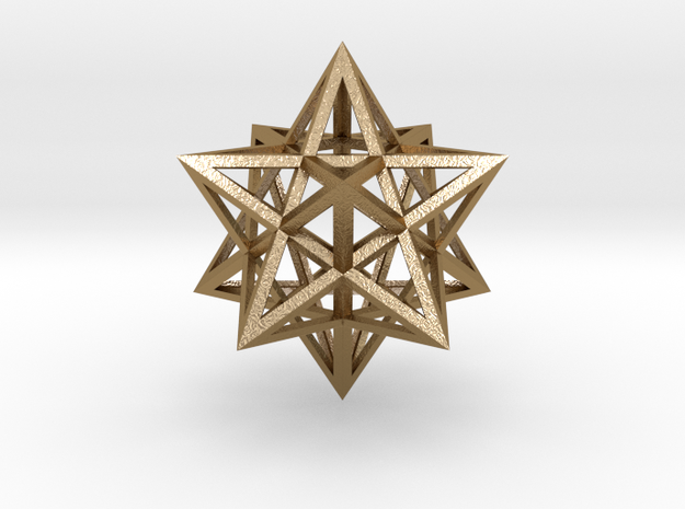 "Stellated Dodecahedron 1.6"" in Polished Gold Steel"